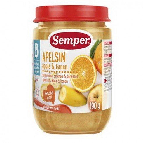 Semper Бебешко пюре от портокали, ябълки и банани 8 м.+ 190 гр. 9523